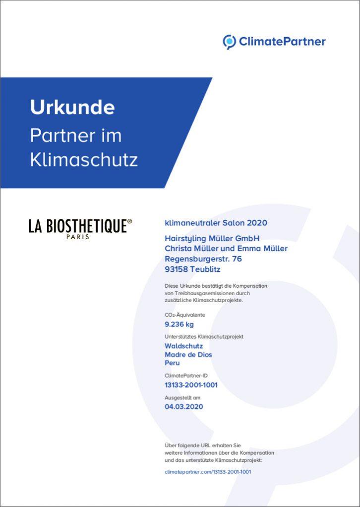 Friseur Teublitz klimaneutraler Salon Urkunde